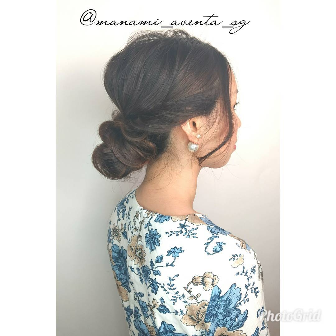 Elegant and Simple Updo Low Bun by AVENTA