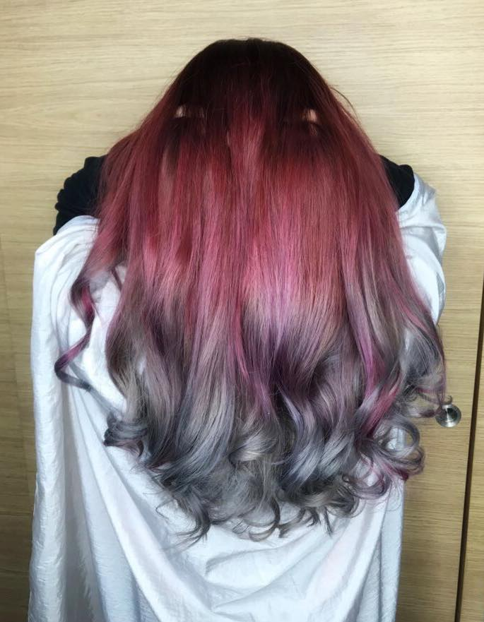 Red Grey Ombre
