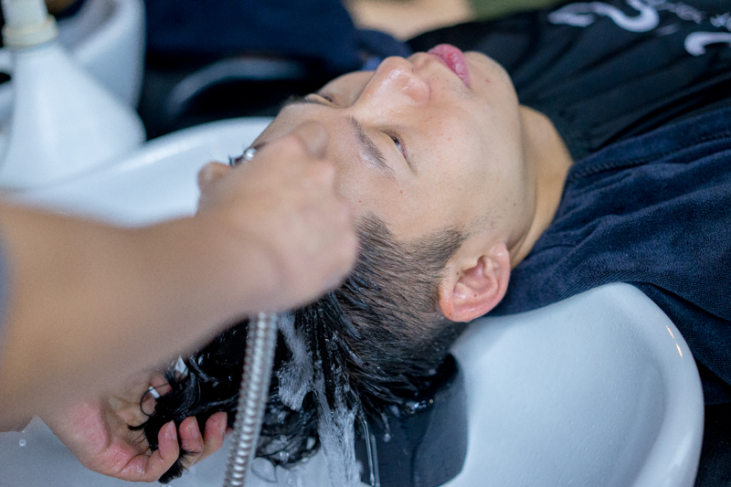 Final Rinse After Men's Perm at Act Point Salon