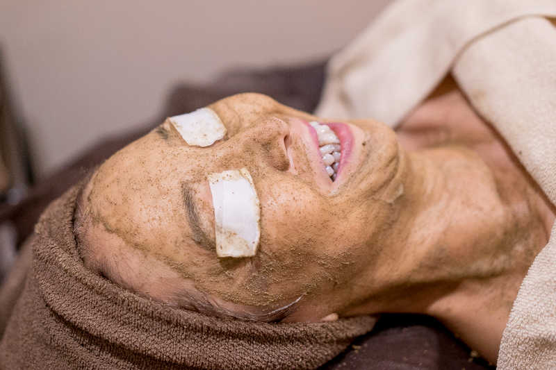 Application of Cream Mask After Herbal Peel at Organics Beauty