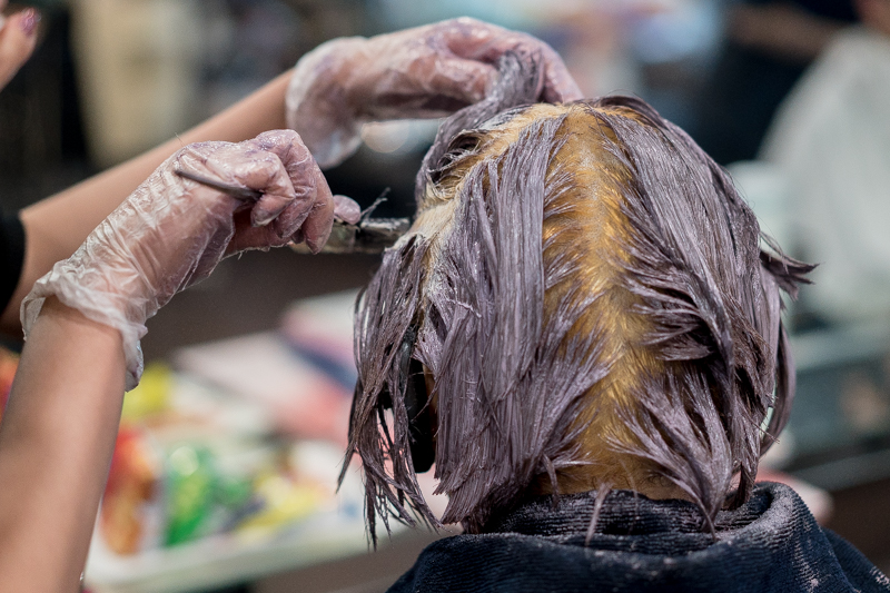 Getting Purple Grayge Hair Colour at Full House Salon
