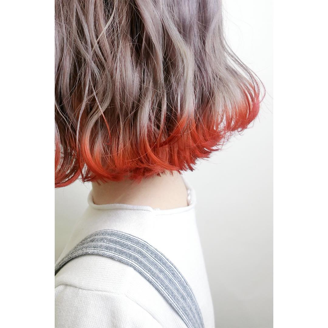 Ash Lavender Hair Colour with Red Ends by Chiho from Bump Hair Design