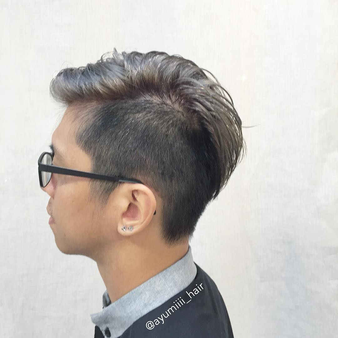 Men Side Shave and Grey Hair Colour