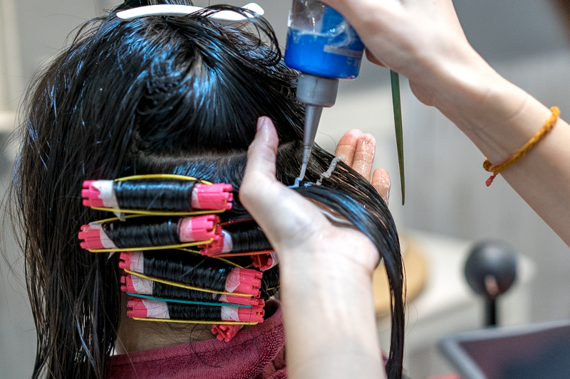 Curling Process For Hippie Perm at Koinonia Salon