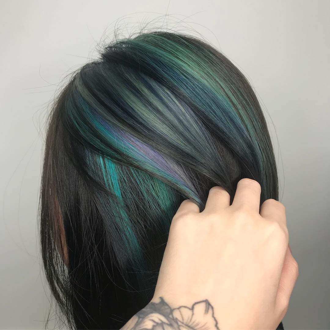 Green Purple Highlights by Mane Made