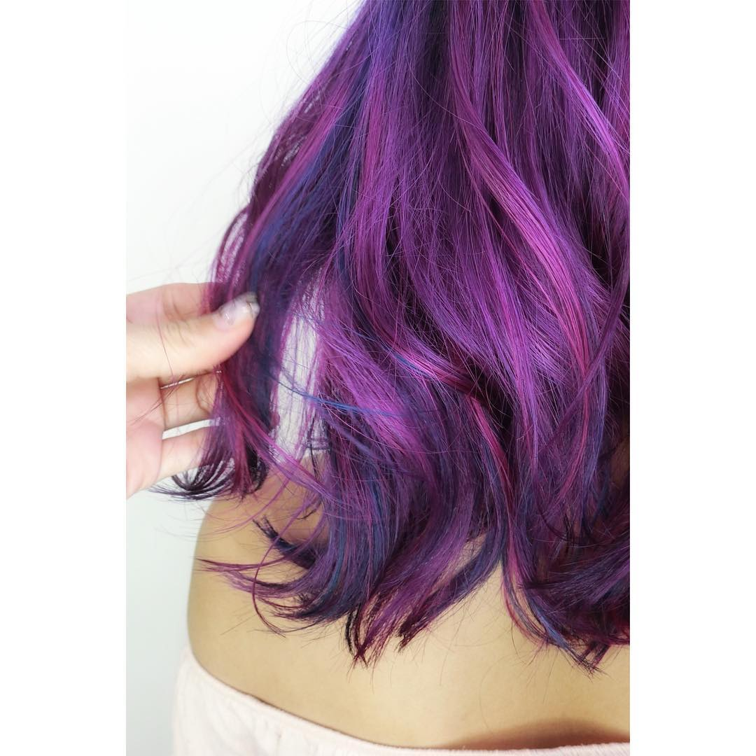 Purple Balayage by Japanese Stylist Chiho from Bump Hair Design
