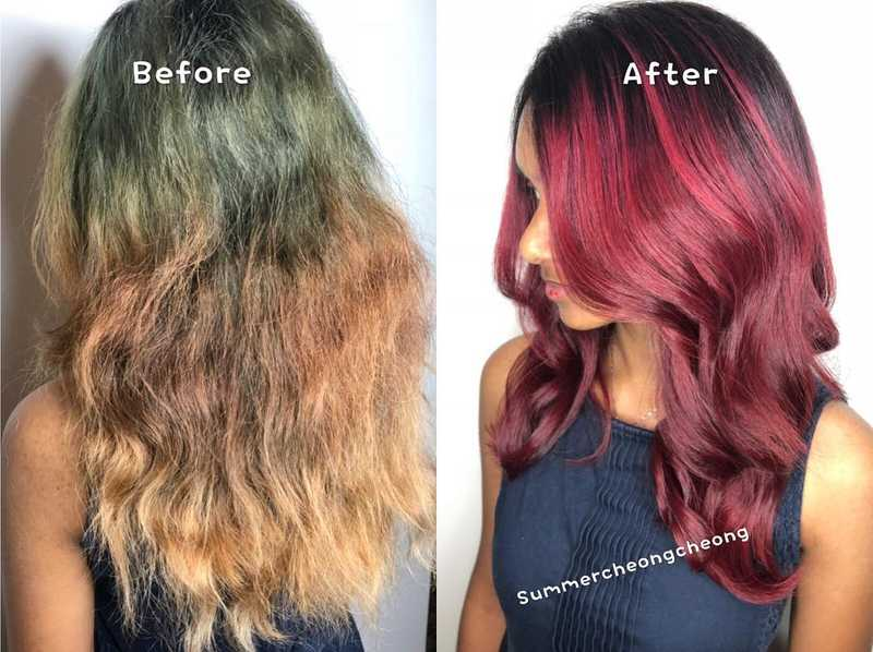 Before and After Red Balayage by Walking on Sunshine