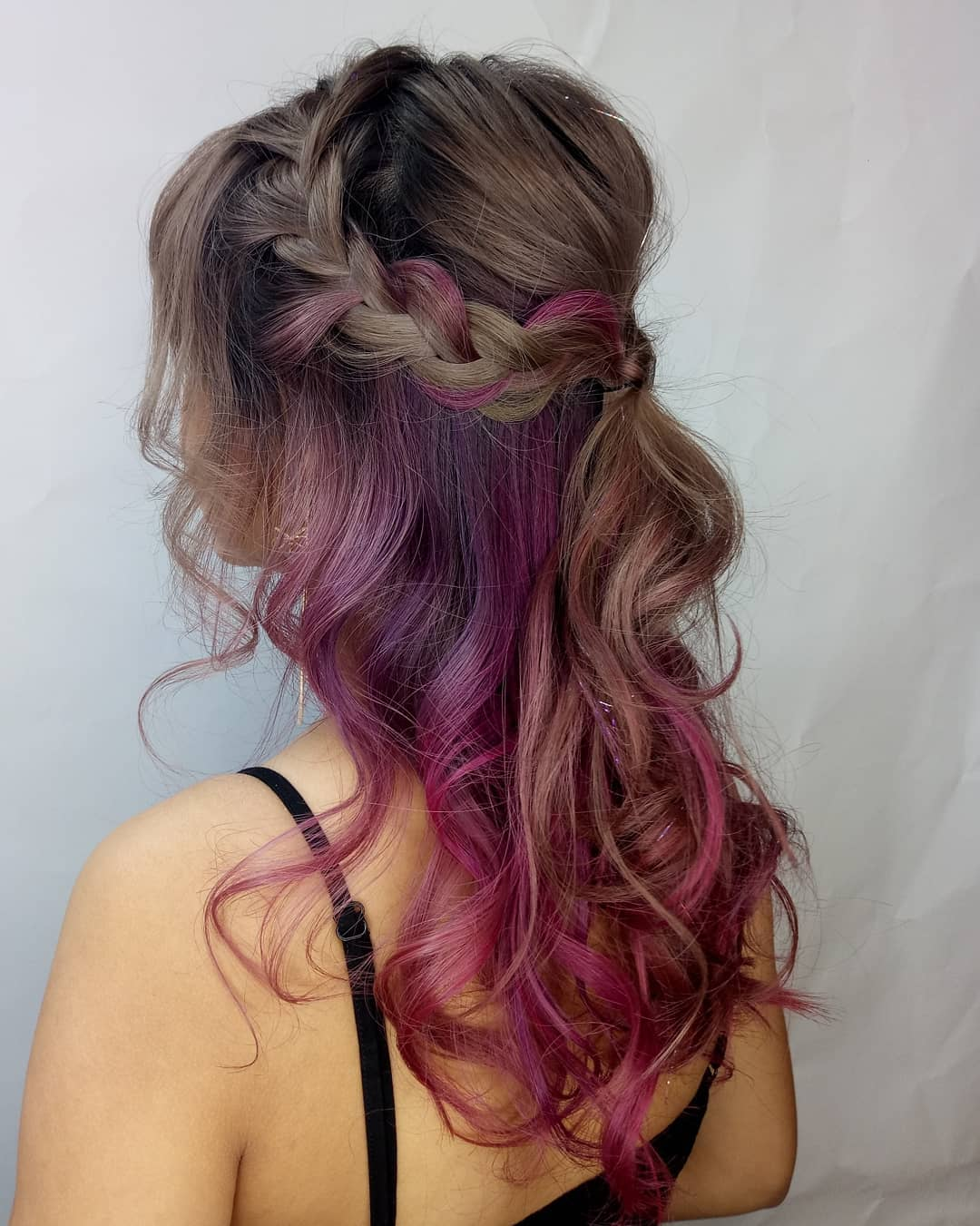 Grey Pink Violet Hair Colour by Manami from Walking on Sunshine