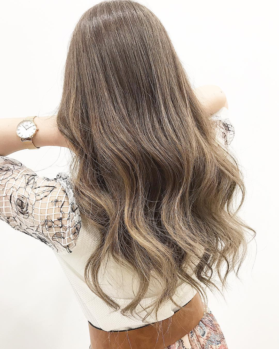 Back Pose Brown Hair Colour by Threes Japanese