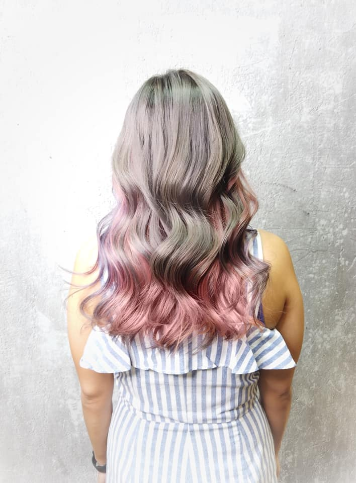 Grey Pink Purple Hair Colour by Full House