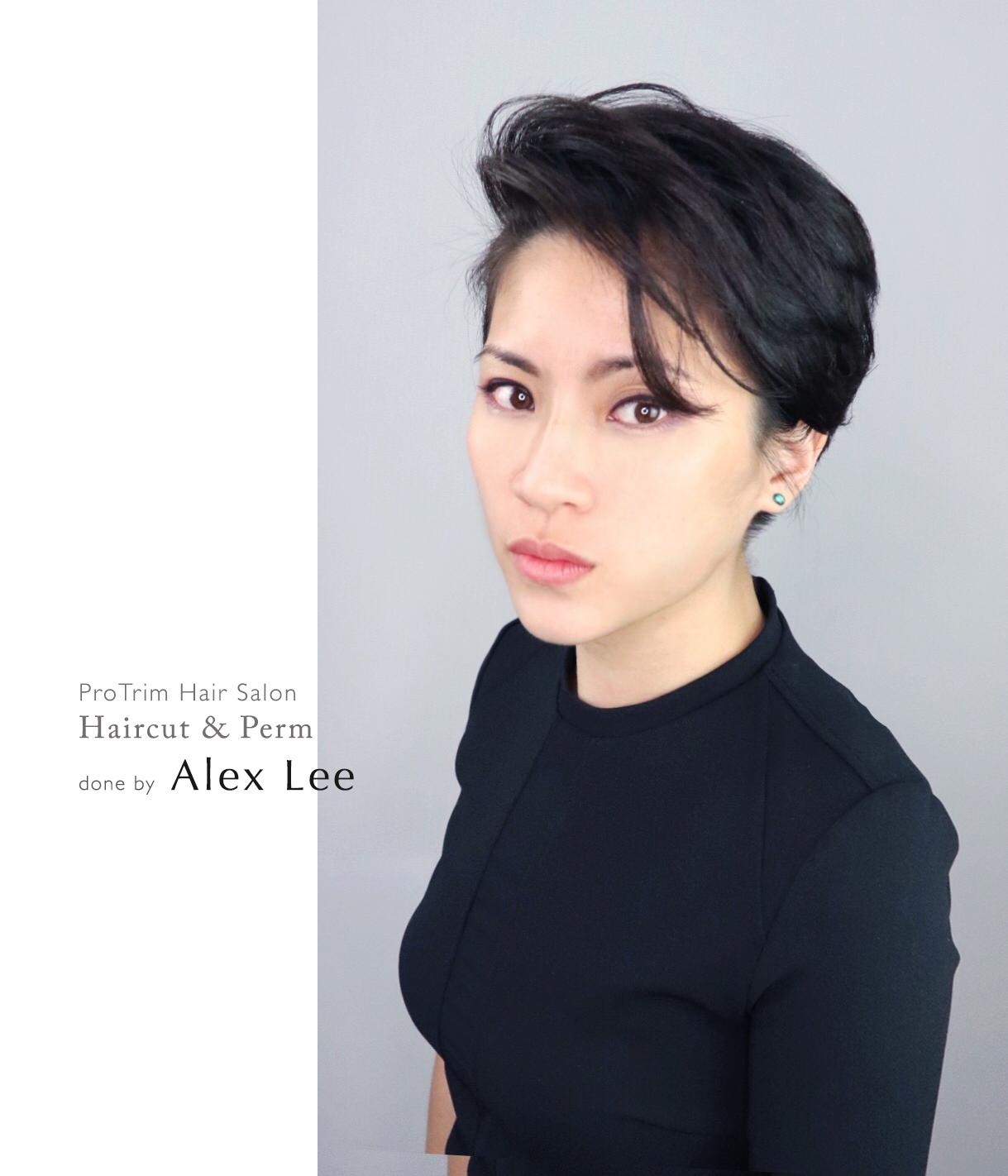 Korean Short Pixie Haircut with Side Swept Bangs by Pro Trim