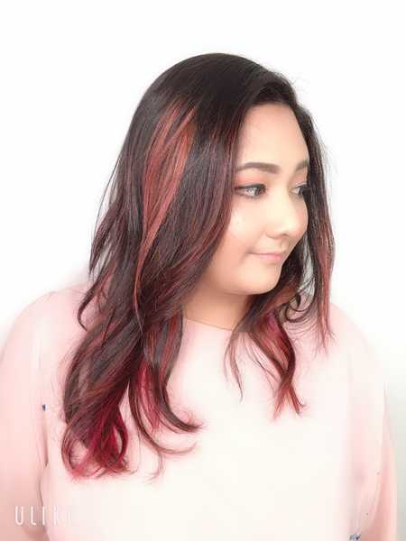 Rose Pink Highlights for Tanned Skin by Risel Japanese Salon