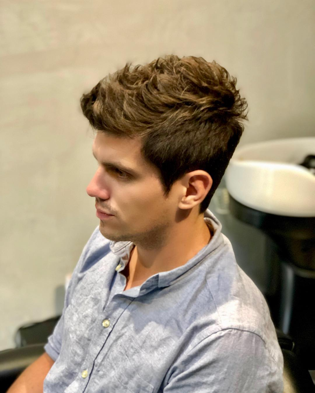 Low Maintenance Men's Haircut with Spikey Fringe at SAD Hair Design