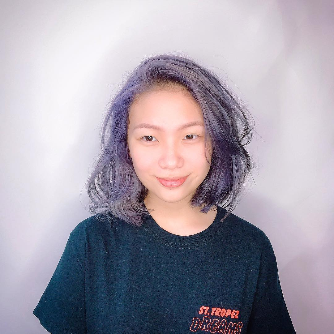 Wavy Short Haircut and Purple Hair Colour by Walking on Sunshine