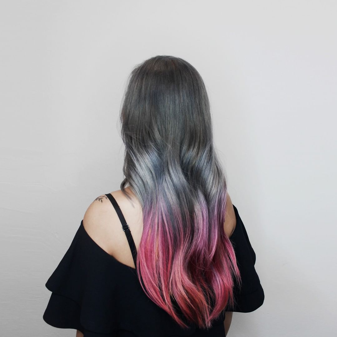 Silver and Red Hair Colour