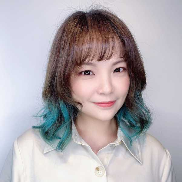 Blue Dyed Ends with See Through Bangs by Do My Hair