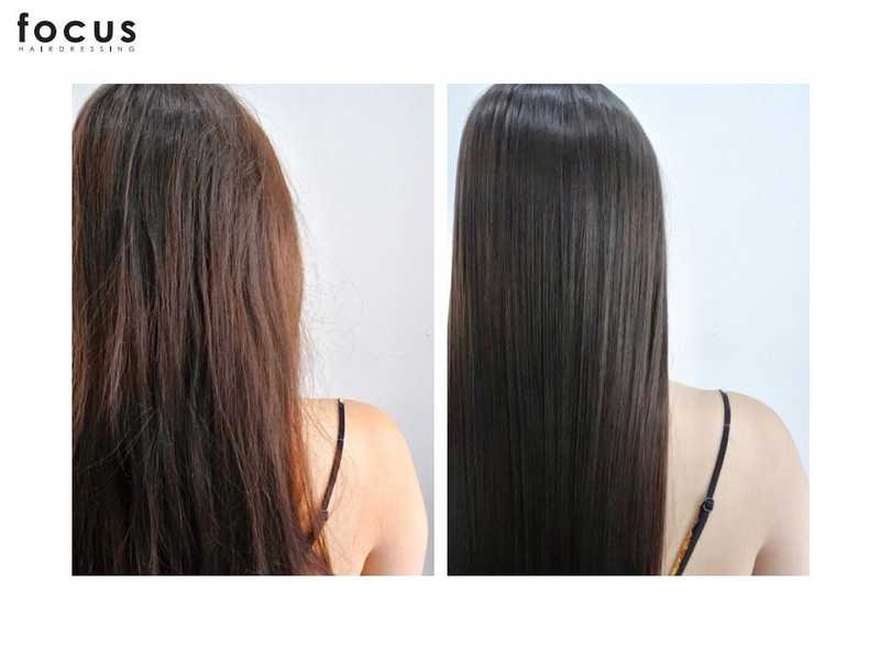 Before and After MUCOTA Infinia Hair Treatment at Focus Hairdressing