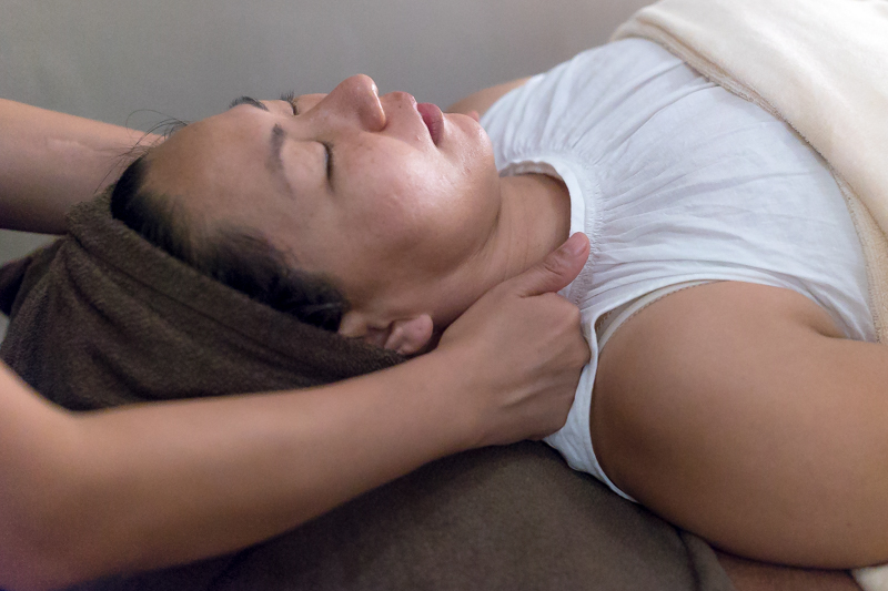 Shoulder and Face Massage at the end of the treatment at Organics Beauty