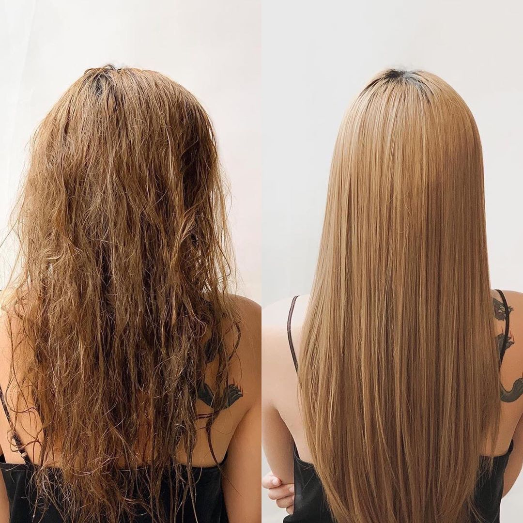 Before and After Keratin Treatment at Walking on Sunshine
