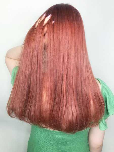 Straight and Long Red Hair Colour by Chiho from Fluxus House