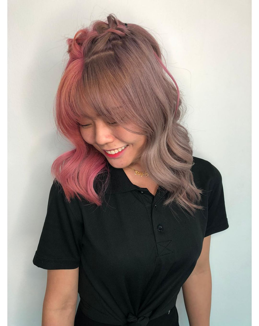 Two Toned Lilac and Pink Hair Colour by Kenaris Salon