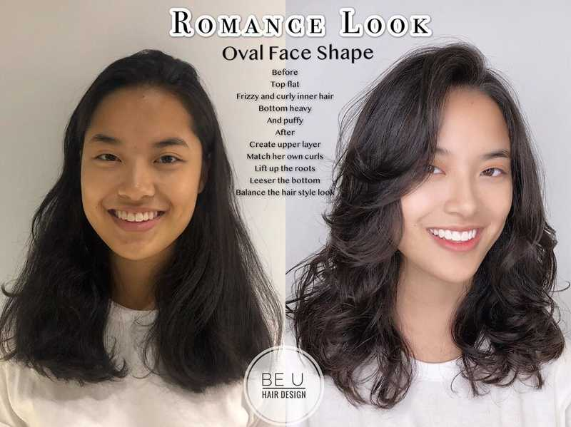 Sweet Romantic Hairstyle For Oval Face Shape by Be U Hair Design