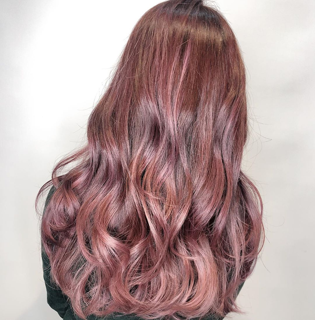 Red Pink balayage by Danson at 99 Percent Hair Studio