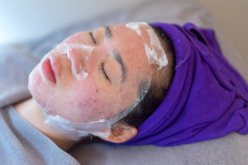 Vitamin B5 Mask During Facial Treatment at Apple Queen Beauty