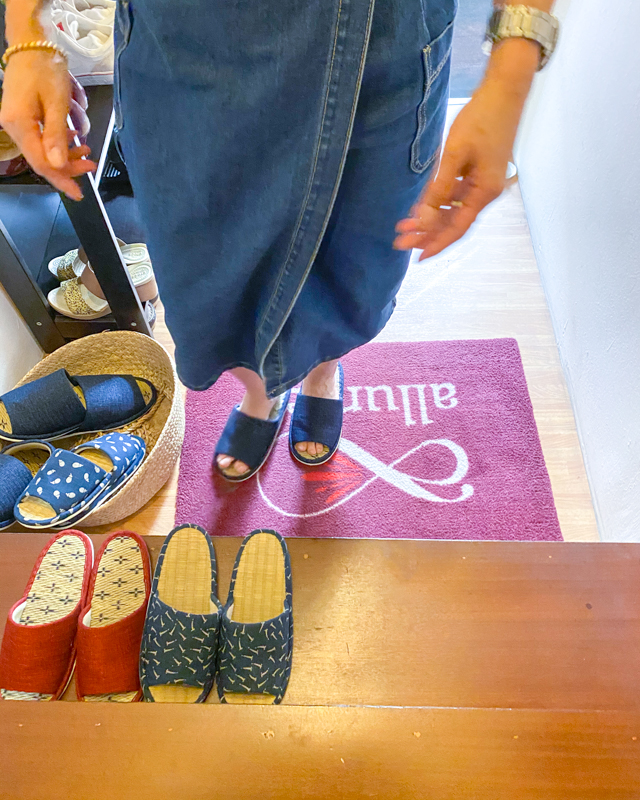 Change Into Cute Japanese Slippers at Allumer Japanese Beauty Salon