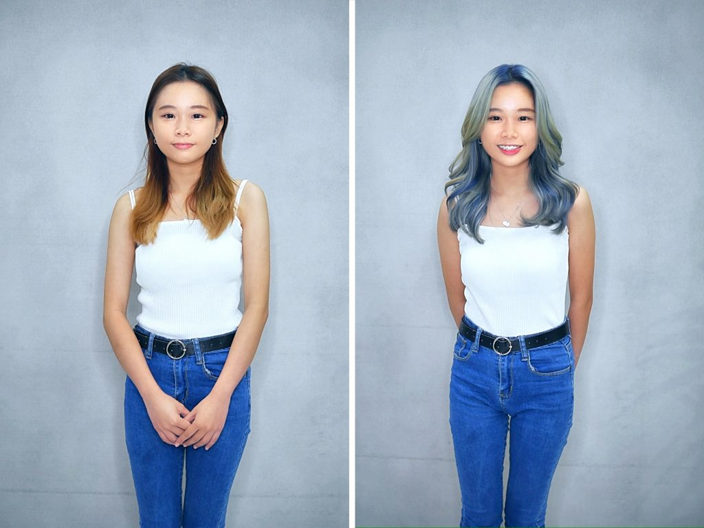 Haircut and Teal Digital Hair Colour by Chez Vous