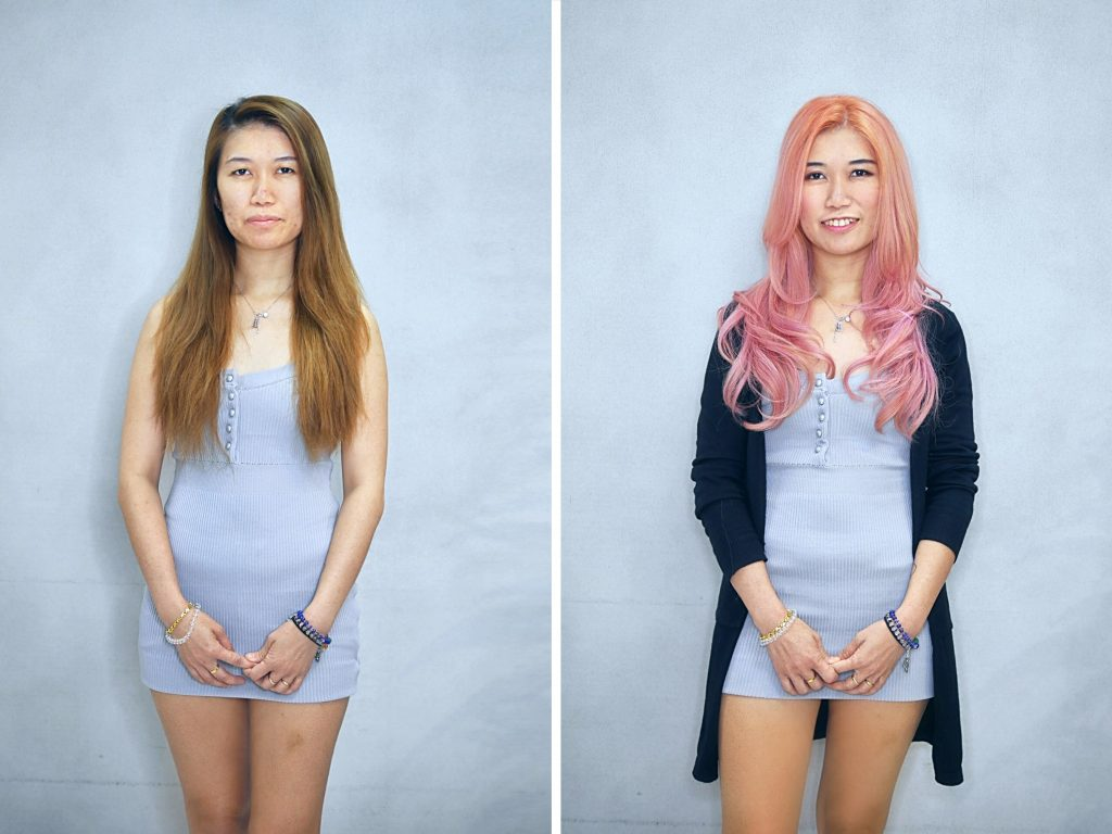Long Layered Haircut and Pink Rose Gold Hair Colour by Chez Vous