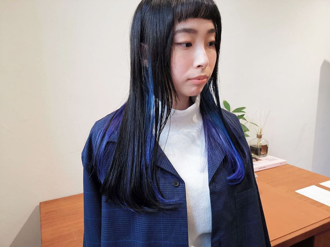 Hime Cut and Blue Highlights and Room Japanese Hair Salon