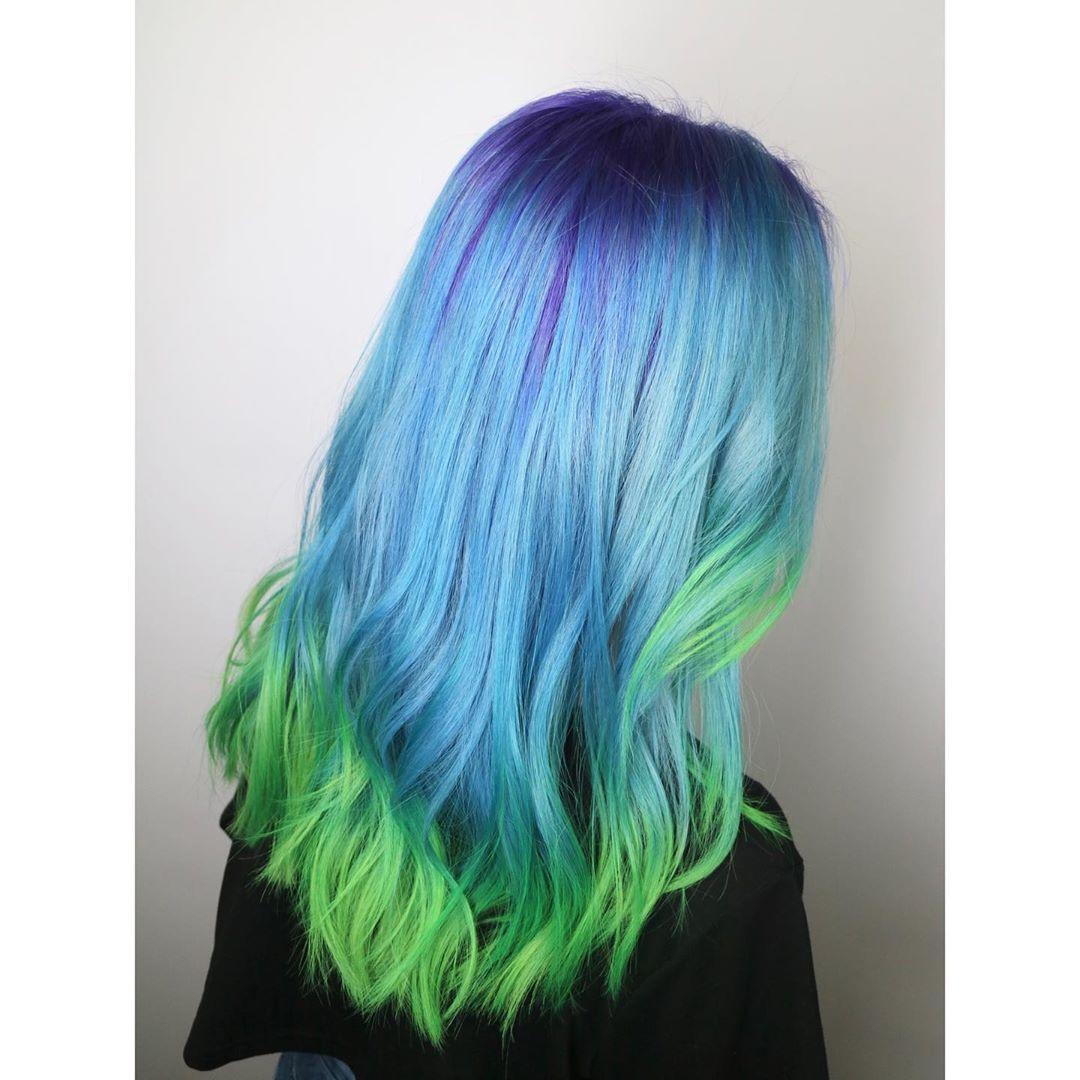 Rainbow Blue and Neon Green Colour (Suggy) at 99 Percent