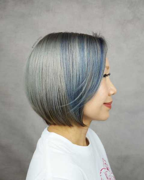 Blue and Grey Highlights by Be Salon