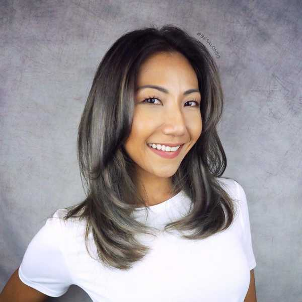 Layered Haircut with Grey Highlights by Be Salon
