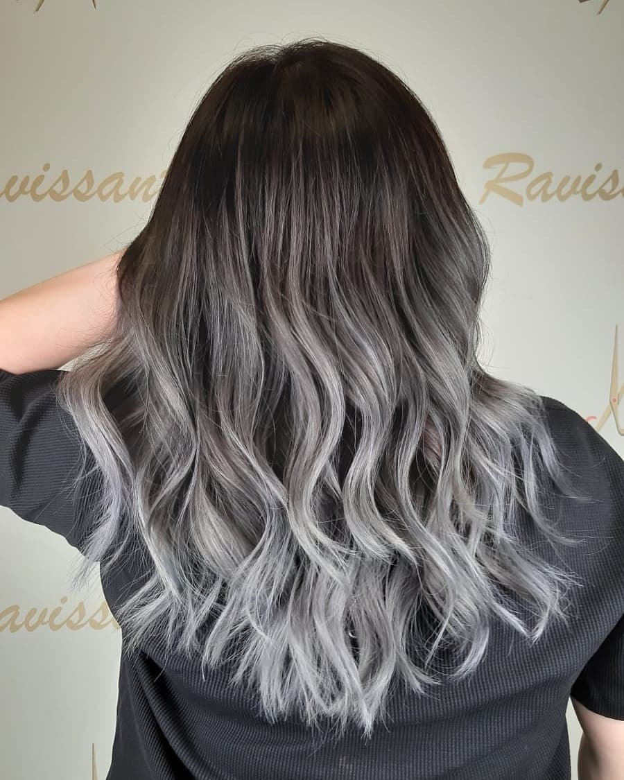 Hollywood Wave and Hair Colour Silver balayage by Ravissant