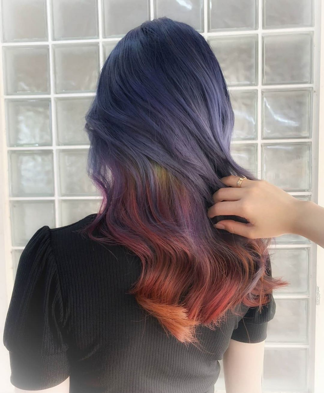 Colour-Rainbow Blue and Red (Emily n Natalie) at Color Bar by Full House Salon