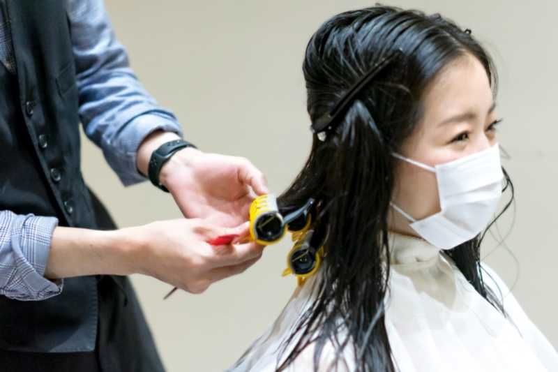 Curling Process at Branche Hair Salon