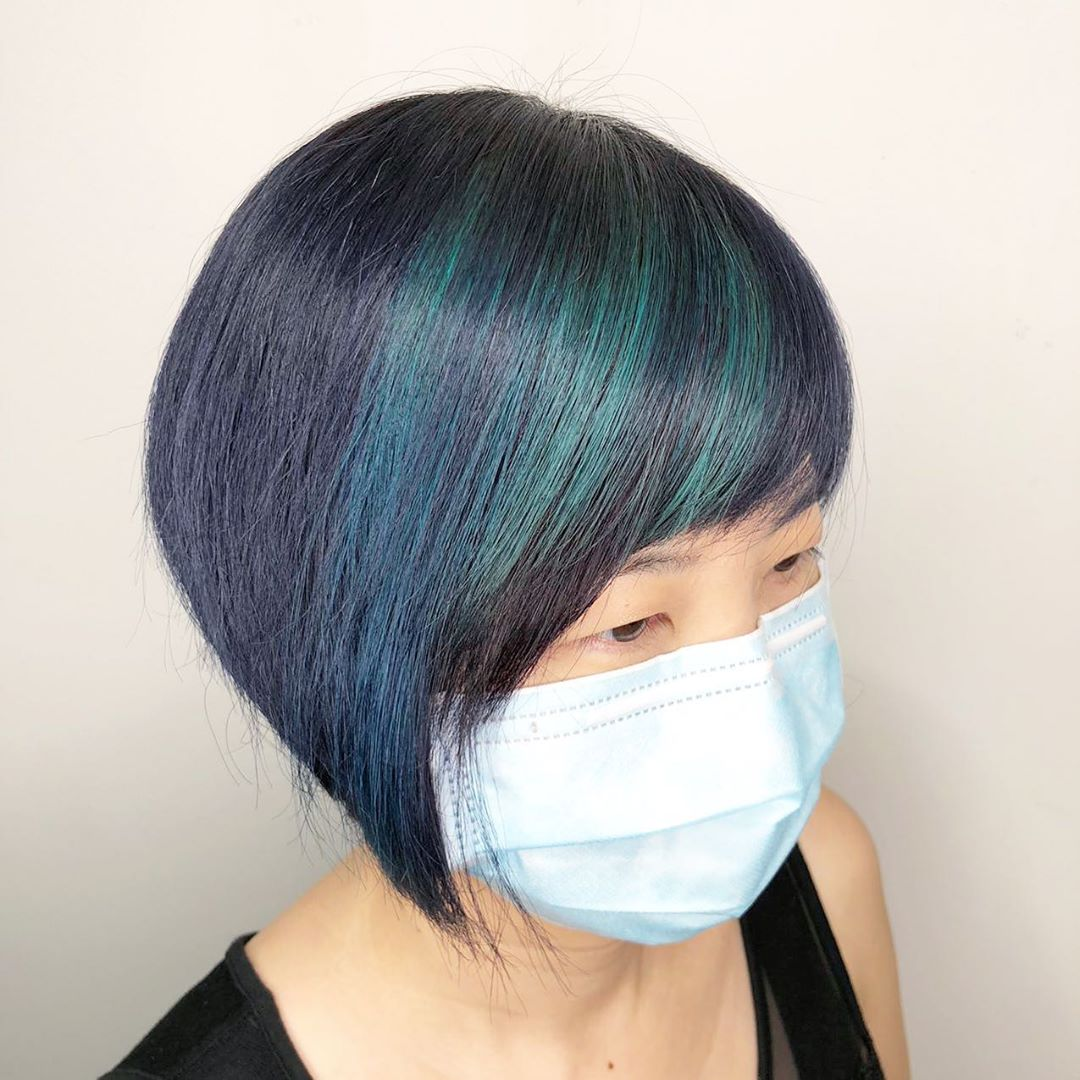Short Bob Haircut with Blue Fringe Highlights by Zen at Mane Made