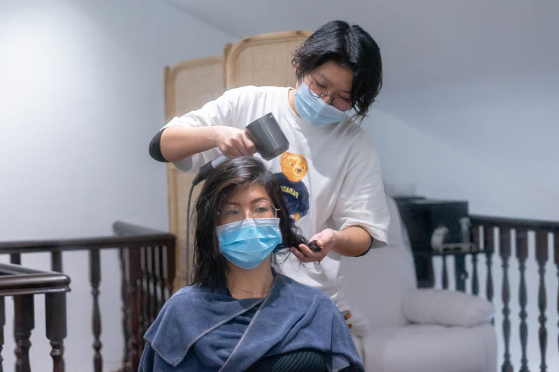 Hair Styling After Head Spa at Room Japanese Hair Salon