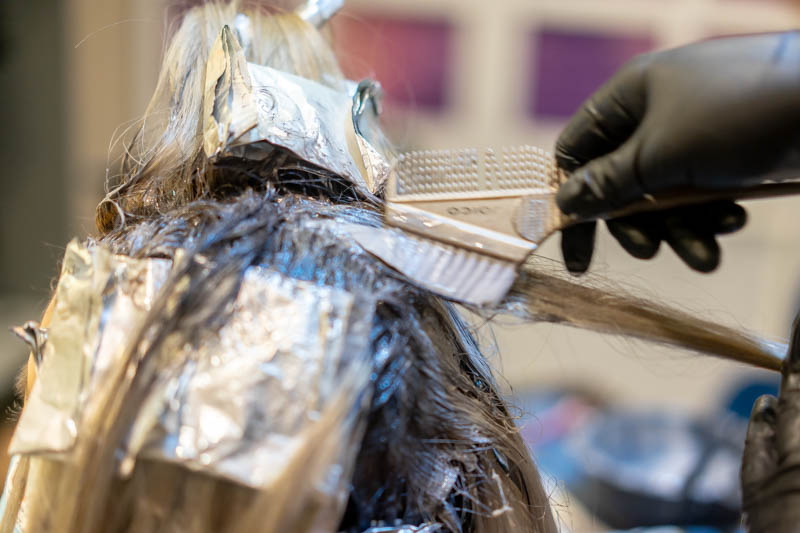Application of Lavender Brown Hair Colour at The Beauty Emporium