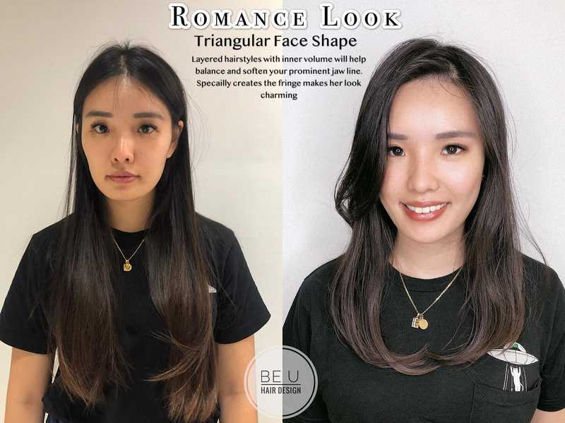 Triangular Face Shape Hairstyle For Dates by Be U Hair Design
