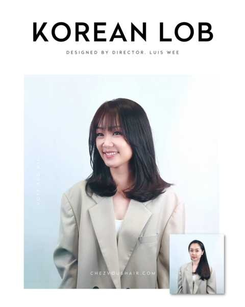 Shoulder Length Korean Lob Cut with See Through Bangs by Chez Vous