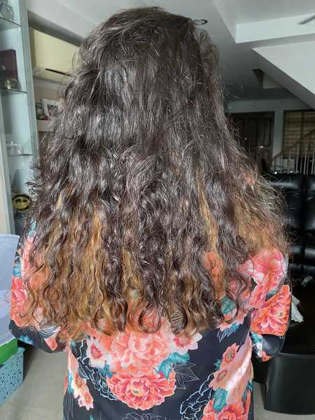Before and After Advanced Sugar Lamination at Chez Vous Hair Salon for Frizzy Curly Hair