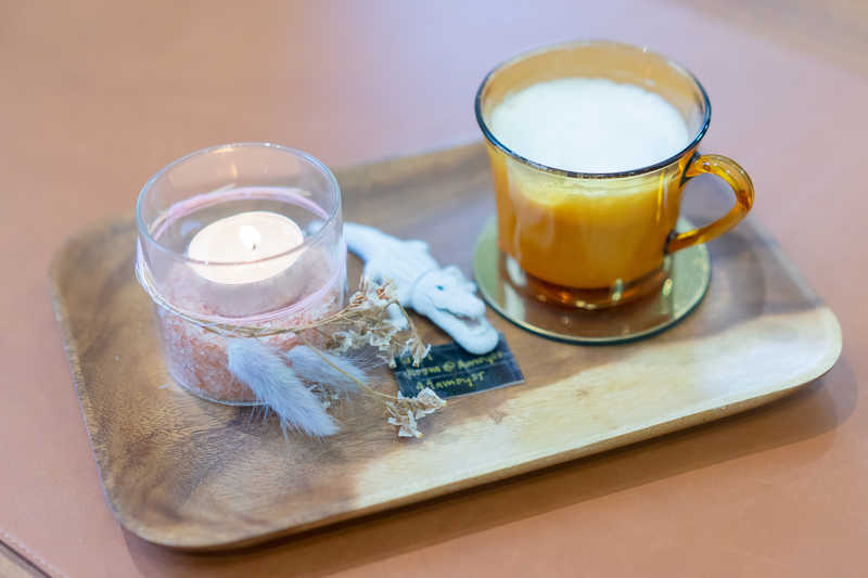 Latte and Scented Candle at Room 49A